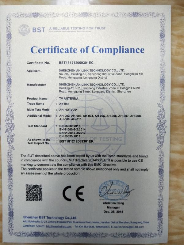 Chine Shenzhen AH-LINK Technology Co., Ltd. Certifications
